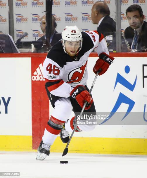 Blake Speers of the New Jersey Devils skates against the New York Islanders during a preseason game at the Barclays Center on September 25 2017 in...