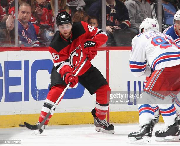 Blake Speers of the New Jersey Devils skates against the New York Rangers at the Prudential Center on September 20 2019 in Newark New Jersey The...