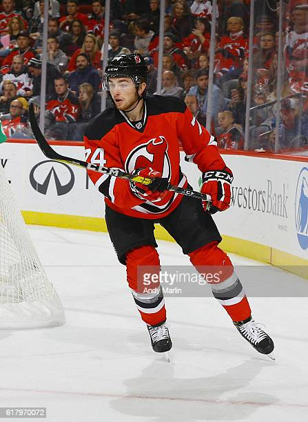 Blake Speers of the New Jersey Devils skates during the game against the Minnesota Wild at Prudential Center on October 22 2016 in Newark New Jersey