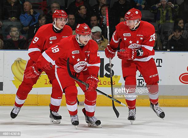 Blake Speers of the Sault Greyhounds celebrates a goal against the London Knights during an OHL game at Budweiser Gardens on October 17 2015 in...