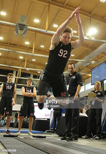 Blake Speers performs a jump test during the NHL Combine at HarborCenter on June 6 2015 in Buffalo New York