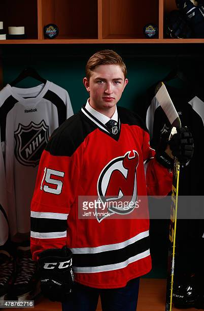 Blake Speers poses for a portrait after being selected 67th by the New Jersey Devils during the 2015 NHL Draft at BBT Center on June 27 2015 in...