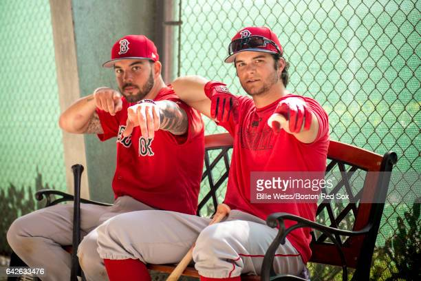 Blake Swihart and Andrew Benintendi of the Boston Red Sox pose during a team workout on February 18 2017 at Fenway South in Fort Myers Florida