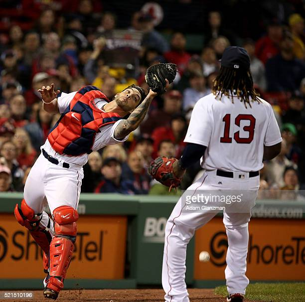 Blake Swihart and Hanley Ramirez of the Boston Red Sox miss a foul ball during the 6th inning against the Baltimore Orioles at Fenway Park on April...