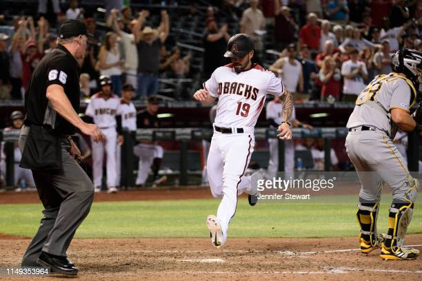Blake Swihart of the Arizona Diamondbacks hits a two run insidethepark home run in the eighth inning of the MLB game against the Pittsburgh Pirates...