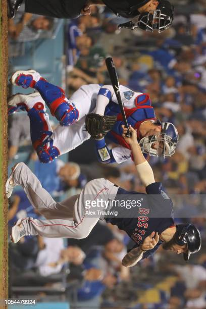 Blake Swihart of the Boston Red Sox bats in the ninth inning during Game 4 of the 2018 World Series between the Boston Red Sox and the Los Angeles...