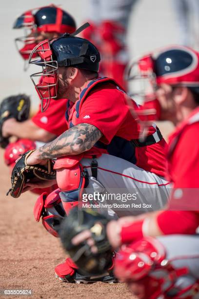 Blake Swihart of the Boston Red Sox catches during a workout on February 15 2017 at jetBlue Park in Fort Myers Florida Blake Swihart