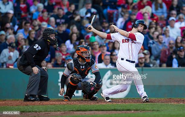 Blake Swihart of the Boston Red Sox hits a foul ball during the seventh inning against the Baltimore Orioles at Fenway Park on September 27 2015 in...