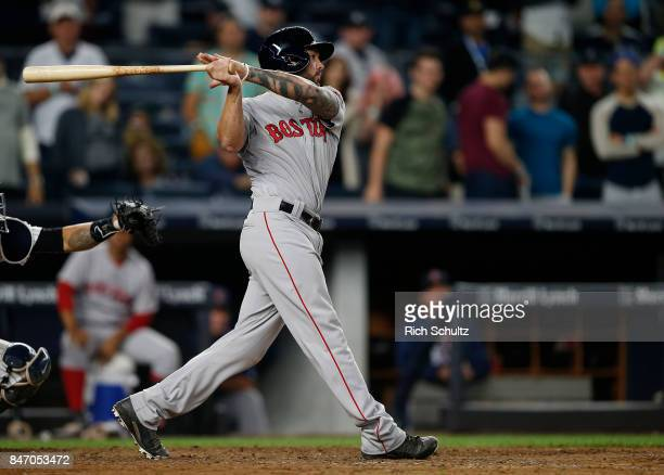 Blake Swihart of the Boston Red Sox in action against the New York Yankees during a game at Yankee Stadium on September 3 2017 in the Bronx borough...