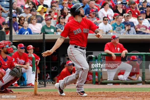 Blake Swihart of the Boston Red Sox in action against the Philadelphia Phillies during a spring training game at Spectrum Field on March 12 2017 in...