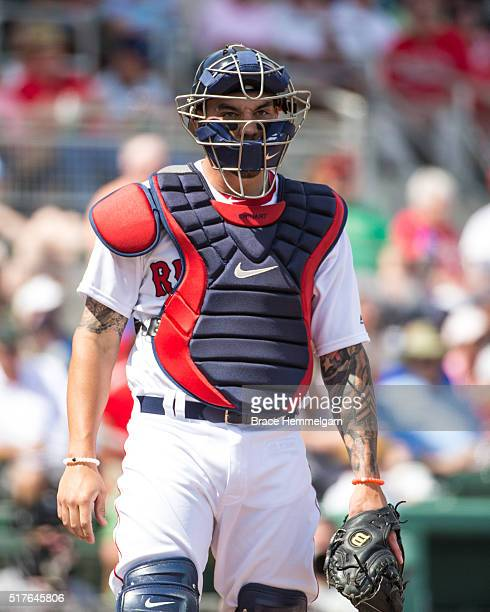 Blake Swihart of the Boston Red Sox looks on against the Minnesota Twins during a spring training game on March 2 2016 at JetBlue Park in Fort Myers...