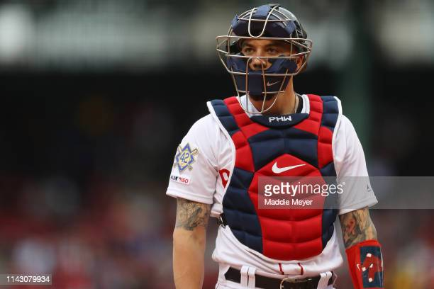 Blake Swihart of the Boston Red Sox looks on during the first inning of the game against the Baltimore Orioles at Fenway Park on April 15 2019 in...