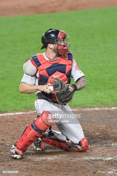Blake Swihart of the Boston Red Sox looks to throw second base during a baseball game against the Baltimore Orioles at Oriole Park at Camden Yards on...