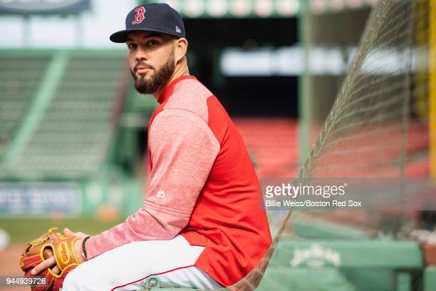 Blake Swihart of the Boston Red Sox poses for a portrait before a game against the New York Yankees on April 11 2018 at Fenway Park in Boston...