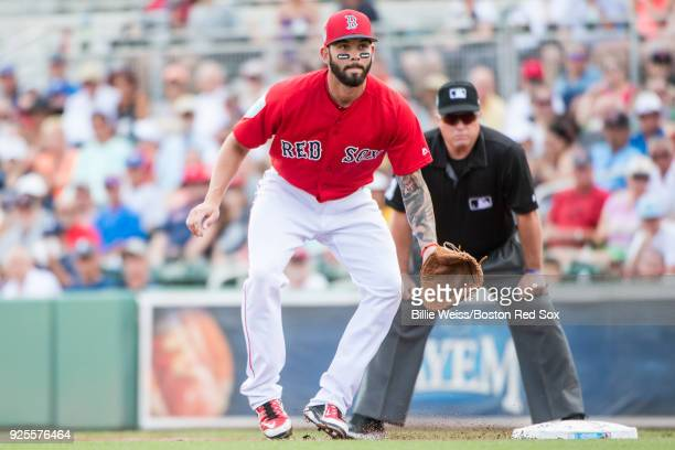 Blake Swihart of the Boston Red Sox prepares to field during a game against the Pittsburgh Pirates at JetBlue Park at Fenway South on February 28...