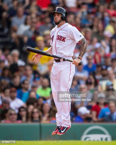 Blake Swihart of the Boston Red Sox reacts after striking out during the fourth inning of a game against the Chicago White Sox on June 9 2018 at...