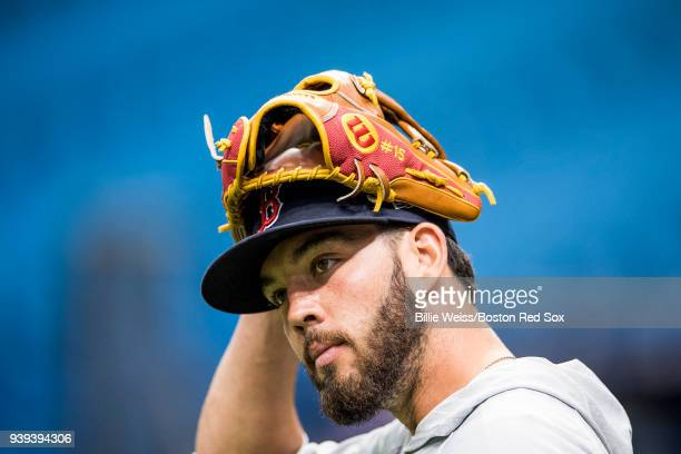 Blake Swihart of the Boston Red Sox reacts during a team workout before Opening Day on March 28 2018 at Tropicana Field in St Petersburg Florida