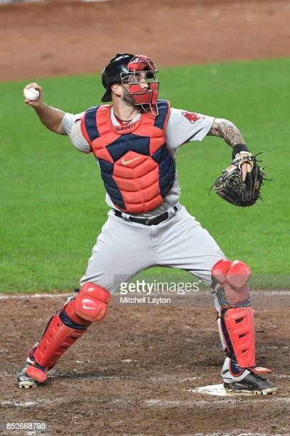 Blake Swihart of the Boston Red Sox throws to second base during a baseball game against the Baltimore Orioles at Oriole Park at Camden Yards on...