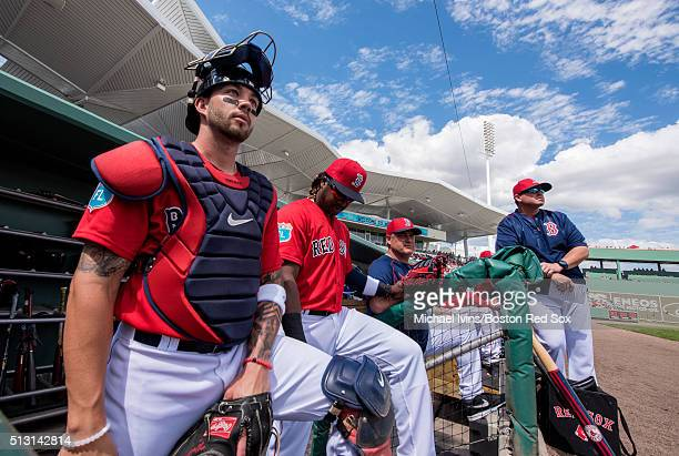 Blake Swihart of the Boston Red Sox waits to take the field before an exhibition game against the Boston College Eagles on February 29 2016 at...