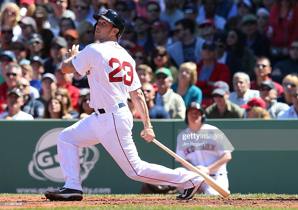 Blake Swihart #23 of the Boston Red Sox watches the flight of the ball in the third inning during a game with New York Yankees at Fenway Park May 2, 2015 in Boston, Massachusetts.