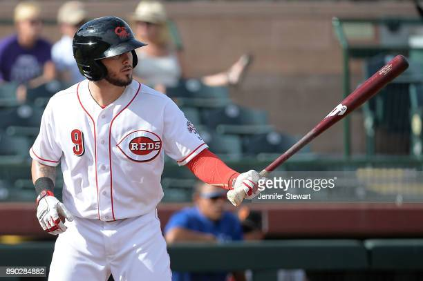 Blake Trahan of Scottsdale Scorpions stands at bat in the Arizona Fall League game against the Surprise Saguaros at Scottsdale Stadium on November 13...
