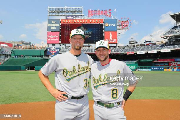 Blake Treinen and Jed Lowrie pose for a photo during the Gatorade AllStar Workout Day at Nationals Park on Monday July 16 2018 in Washington DC
