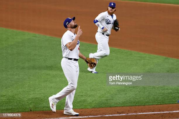 Blake Treinen of the Los Angeles Dodgers reacts after striking out Eric Hosmer of the San Diego Padres to end the eighth inning in Game One of the...