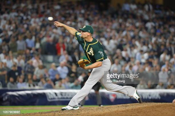 Blake Treinen of the Oakland Athletics pitches during the American League Wild Card game against the New York Yankees at Yankee Stadium on Wednesday...