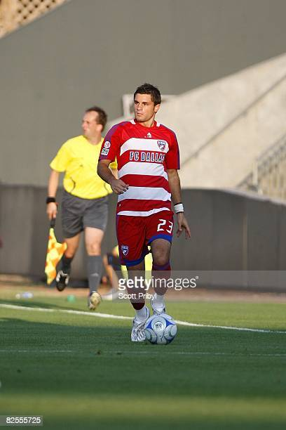 Blake Wagner of FC Dallas dribbles the ball up the field against the Kansas City Wizards during the game at Community America Ballpark on August 23,...