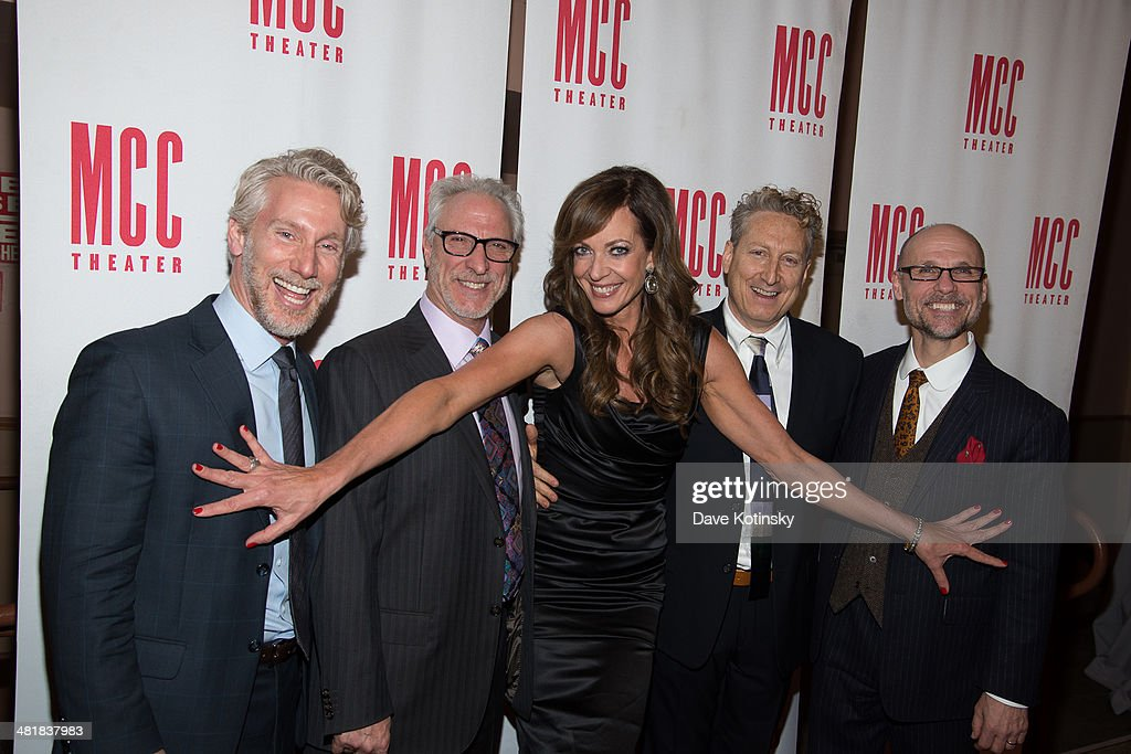 Blake West, Robert LuPone, Allison Janney, Bernie Telsey, Will Cantler attends Miscast 2014 at Hammerstein Ballroom on March 31, 2014 in New York City.