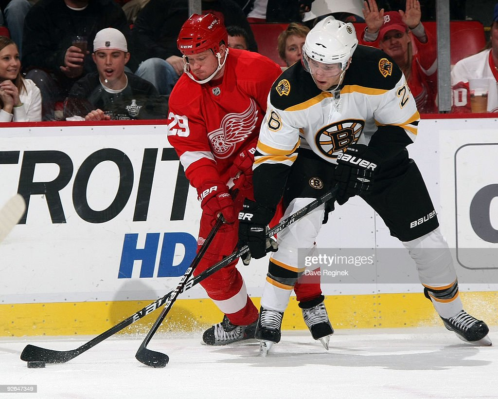 Blake Wheeler #26 of the Boston Bruins battles for the puck with Jason Williams #29 of the Detroit Red Wings during a NHL game at Joe Louis Arena on November 3, 2009 in Detroit, Michigan.