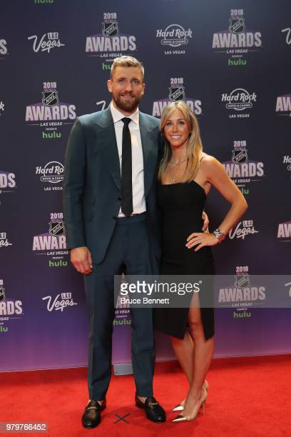 Blake Wheeler of the Winnipeg Jets and guest arrive at the 2018 NHL Awards presented by Hulu at the Hard Rock Hotel Casino on June 20 2018 in Las...