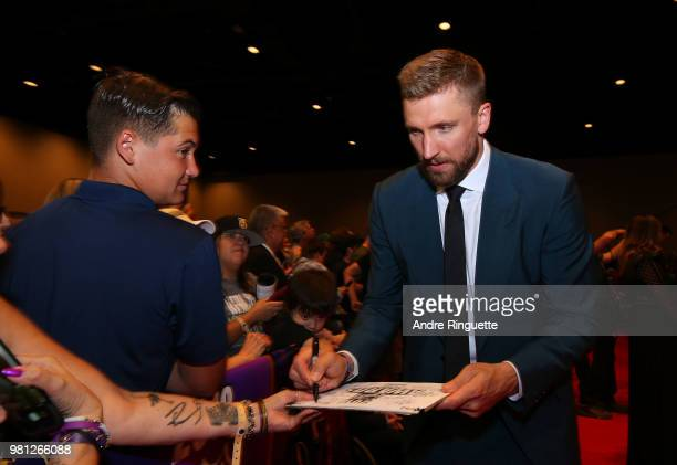Blake Wheeler of the Winnipeg Jets arrives at the 2018 NHL Awards presented by Hulu at the Hard Rock Hotel Casino on June 20 2018 in Las Vegas Nevada