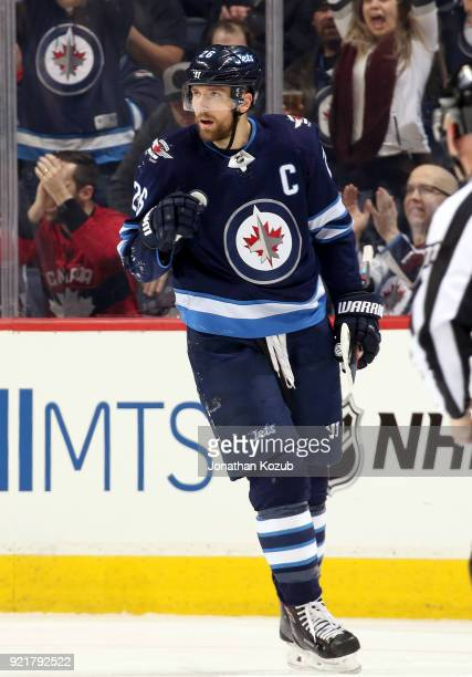 Blake Wheeler of the Winnipeg Jets celebrates after scoring a first period goal against the Los Angeles Kings at the Bell MTS Place on February 20...