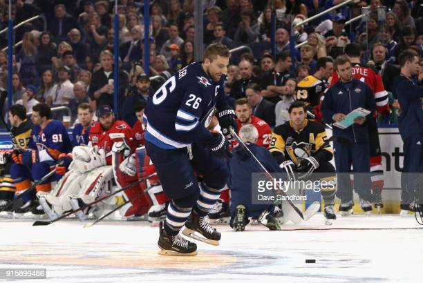 Blake Wheeler of the Winnipeg Jets competes in the GEICO NHL Save Streak during 2018 GEICO NHL AllStar Skills Competition at Amalie Arena on January...