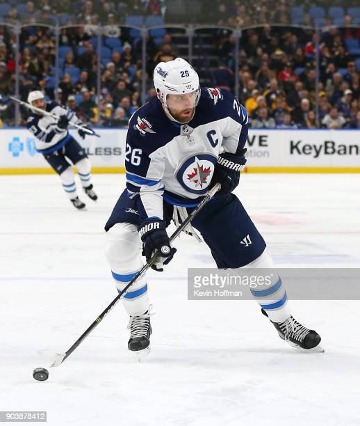 Blake Wheeler of the Winnipeg Jets in play against the Buffalo Sabres at the KeyBank Center on January 9 2018 in Buffalo New York The Jets beat the...