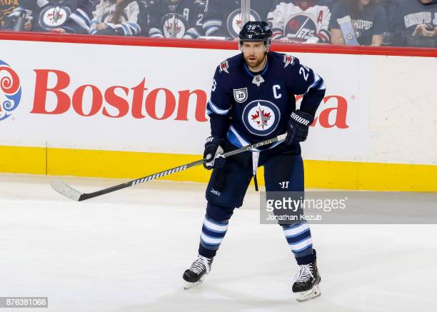 Blake Wheeler of the Winnipeg Jets keeps an eye on the play during third period action against the Arizona Coyotes at the Bell MTS Place on November...
