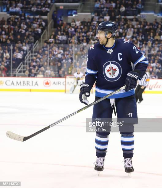Blake Wheeler of the Winnipeg Jets keeps an eye on the play during third period action against the Vegas Golden Knights at the Bell MTS Place on...