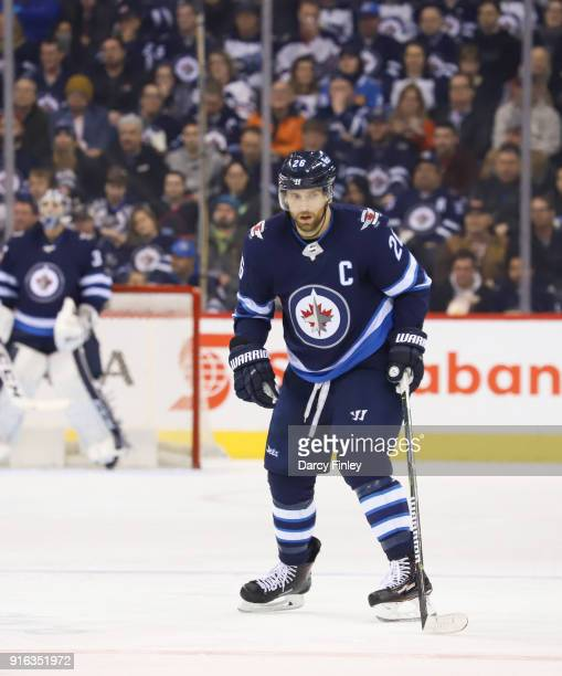 Blake Wheeler of the Winnipeg Jets keeps an eye on the play during second period action against the Arizona Coyotes at the Bell MTS Place on February...