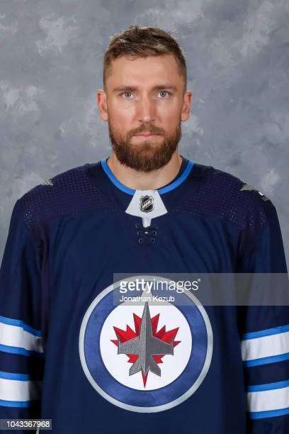 Blake Wheeler of the Winnipeg Jets poses for his official headshot for the 20182019 season on September 13 2018 at the Bell MTS Iceplex in Winnipeg...
