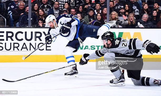 Blake Wheeler of the Winnipeg Jets releases a shot against Derek Forbort of the Los Angeles Kings during the game on January 14 2017 at Staples...