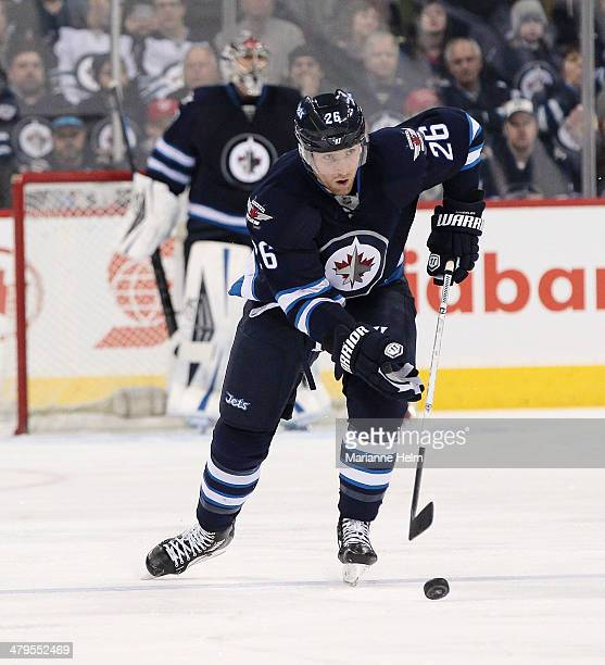 Blake Wheeler of the Winnipeg Jets skates down the ice during second period action in an NHL game against the Los Angeles Kings at the MTS Centre on...