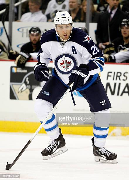 Blake Wheeler of the Winnipeg Jets skates during the game against the Pittsburgh Penguins at Consol Energy Center on January 27 2015 in Pittsburgh...