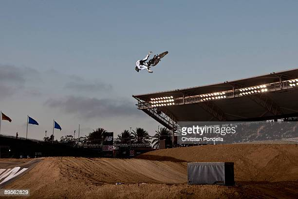Blake Williams competes in the Moto X Freestyle and wins gold at Summer X Games 15 at Home Depot Center on August 1 2009 in Carson California