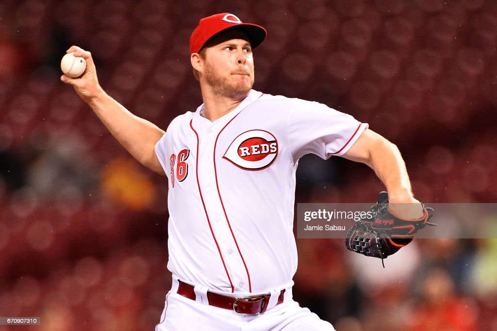 Blake Wood #36 of the Cincinnati Reds pitches in the 10th inning against the Baltimore Orioles at Great American Ball Park on April 20, 2017 in Cincinnati, Ohio. Baltimore defeated Cincinnati 2-1 in 10 innings.