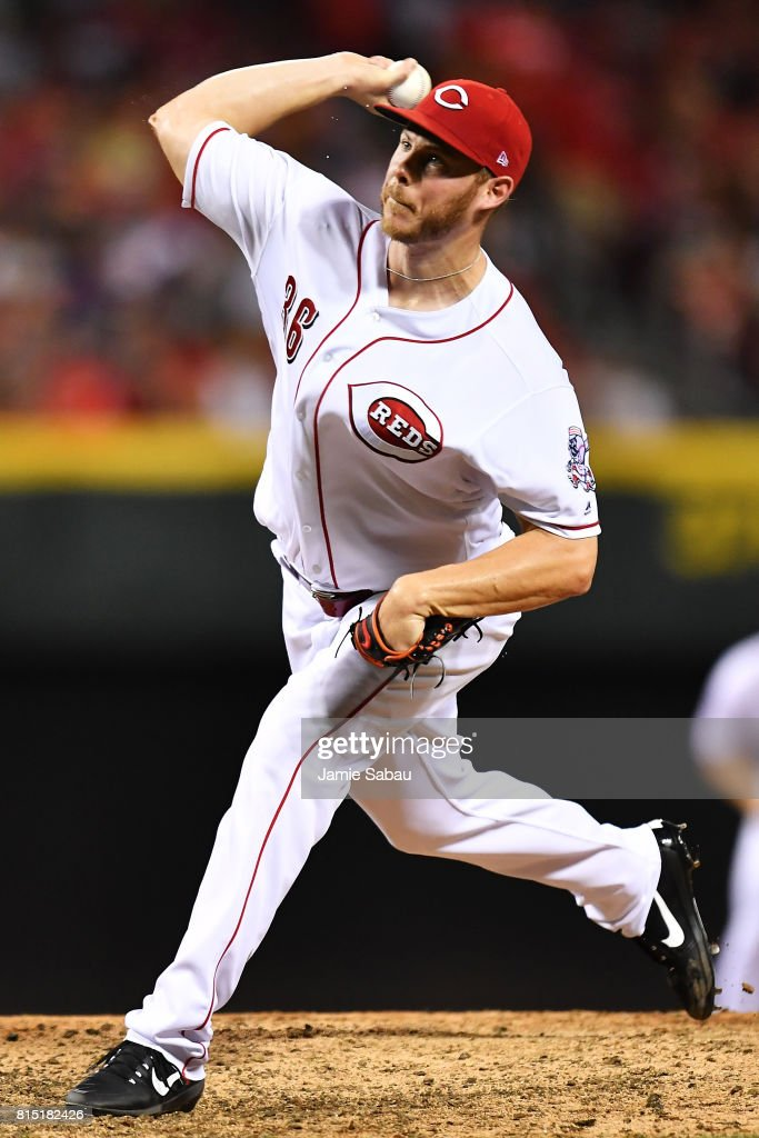Blake Wood #36 of the Cincinnati Reds pitches in the seventh inning against the Washington Nationals at Great American Ball Park on July 15, 2017 in Cincinnati, Ohio. Washington defeated Cincinnati 10-7.