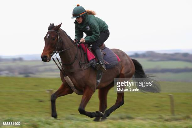 Blaklion works out on the polytrack gallop during a stable visit to the yard of national hunt trainer Nigel TwistonDavies at Grange Hill Farm on...