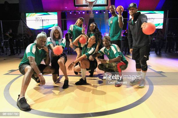 BlameitonKway Jay'La Milan Miss Nikki Baby Bridget Kelly Brooke Valentine NateChaBoy Safaree and Lil' Fizz attend the Celebrity Dodgeball Game at...