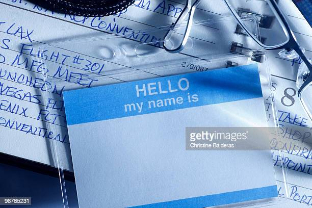 Blamk Name Tag on an Appointment Book