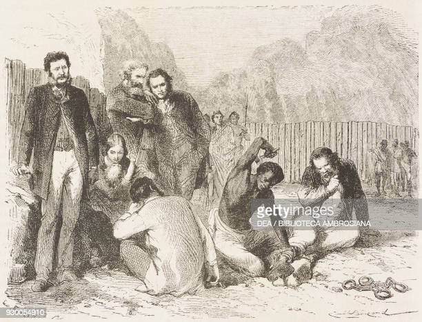 A Blanc Hormuzd Rassam and Prideaux being put in leg irons Magdala Ethiopia drawing by Emile Bayard from a photograph from The prisoners of Theodore...